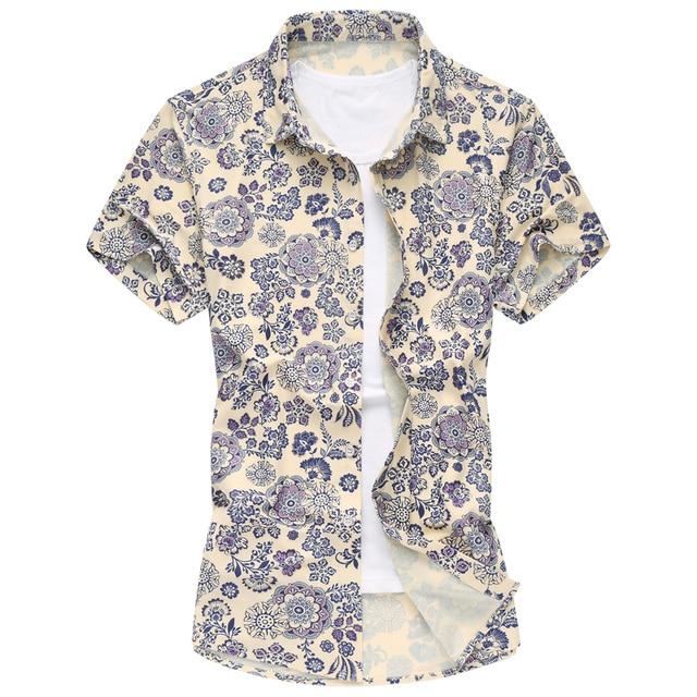 Mens shirts moda 2016 primavera nuevo estilo floral camisas de hombres de negocios casual hombres camisa hawaiana M-5XL F2117