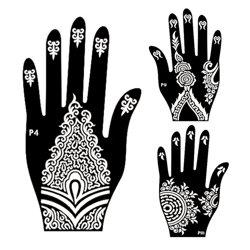 Buy 10pair mehndi henna left right hand for Henna temporary tattoo stencils