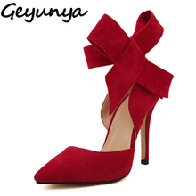 Geyunya Plus Size 35-41 Women Big Bowtie Bow Pumps High Heel Woman Sandals Stilettos Wedding Dress Shoes Bowknot Detachable