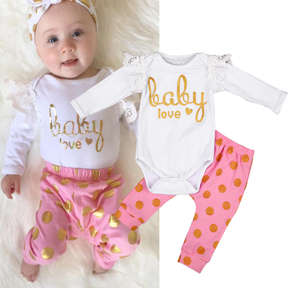 2PCS Newborn Baby Girl Clothes Cute Bebes Cotton Romper Gold Dot Pant Trouser Outfit Bebek Giyim Clothing Set 0-18M