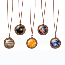 Solar System Planet Jupiter Earth Sun Moon Stars Necklace Vintage Wooden Pendant Glass Dome Jewelry Galaxy Wood Necklaces Gift