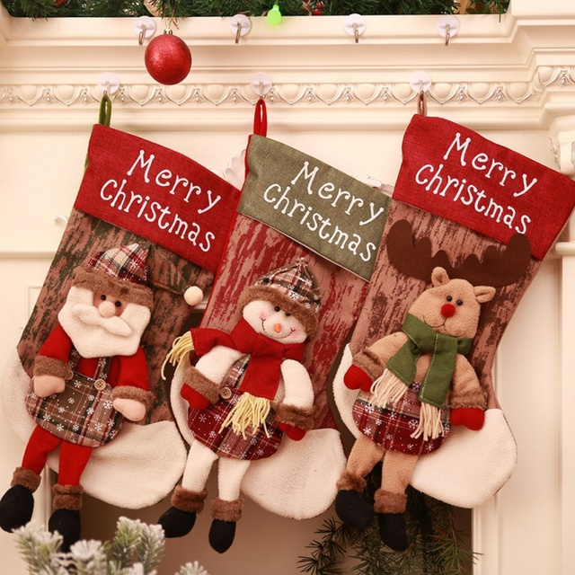 vintage christmas stocking xmas santa claus snowman sock cloth christmas bags candy bags christmas decorations for
