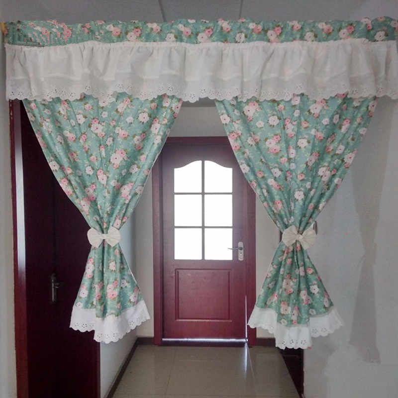 Pastoral Style Green Printed Floral Spllice White Cotton Embroidered Door Curtain Home Decorative Short Curtain 90*110cm