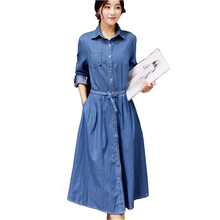Hanım Denim Elbise 2017 Yeni Bahar Moda Uzun Kollu Zarif Ofis Parti Elbiseler Rahat Kot Vestido De Festa Ile Kemer