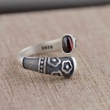 Vintage Garnet 925 Pure Silver Rings for Women Girl Handmade Genuine Lovely Flower Gift Ring Thai Silver Jewelry Accessories(China)