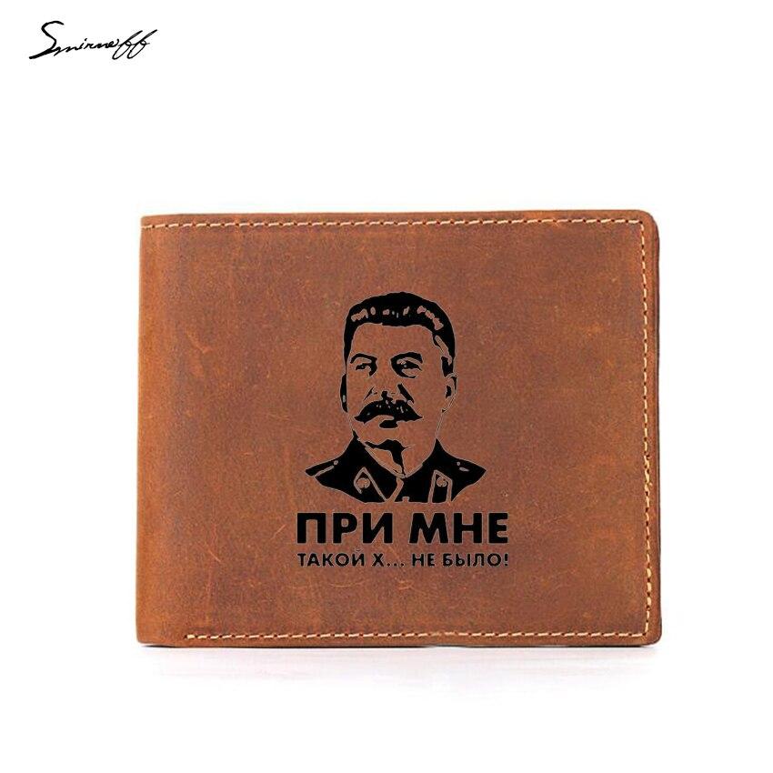 USSR leader Stalin Wallet Men Small Coin Bag Engraved Picture Vintage Leather Purse Multi Card Holder RFID Blocking Men Wallets wallet