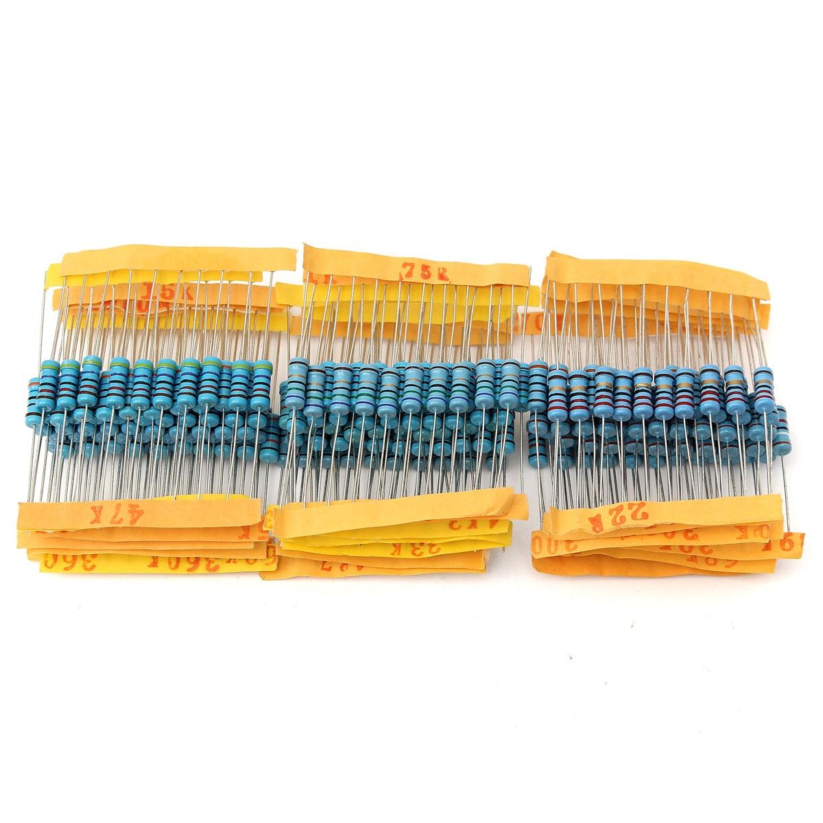 //-1/% Assortment Kit 100value 1000pcs 1W Metal Film Resistor