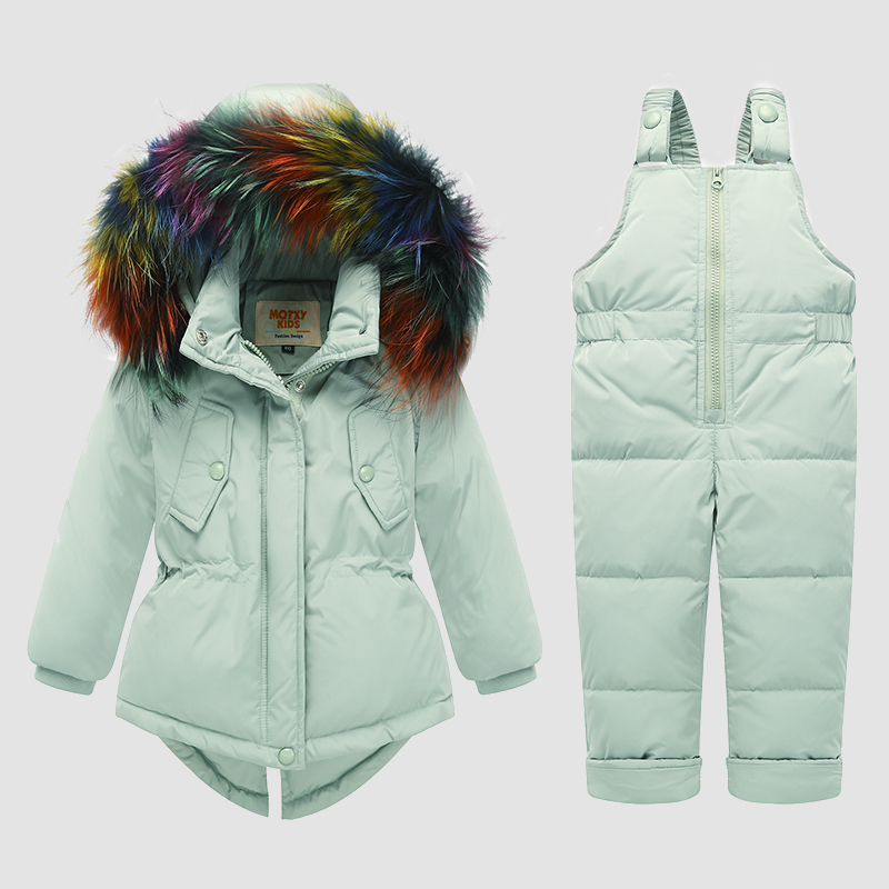 -30 degrés russie hiver enfants neige porter des vêtements pour enfants fille vêtements ensembles garçons Ski costumes 2 pièces coupe-vent vers le bas Parka + combinaison