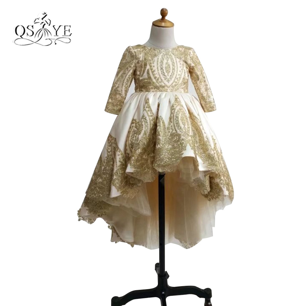 Real Photo Ball Gown   Flower     Girl     Dresses   2017 Puffy Long Sleeve Gold Lace Beaded Appliques   Girls   Communion   Dress   Custom Made