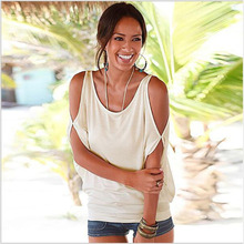 купить 11 Colors Trendy T-Shirt O-neck Women T Shirt Summer Style Batwing Sleeve Tops Off Shoulder Top femme top tee tshirt по цене 793.95 рублей