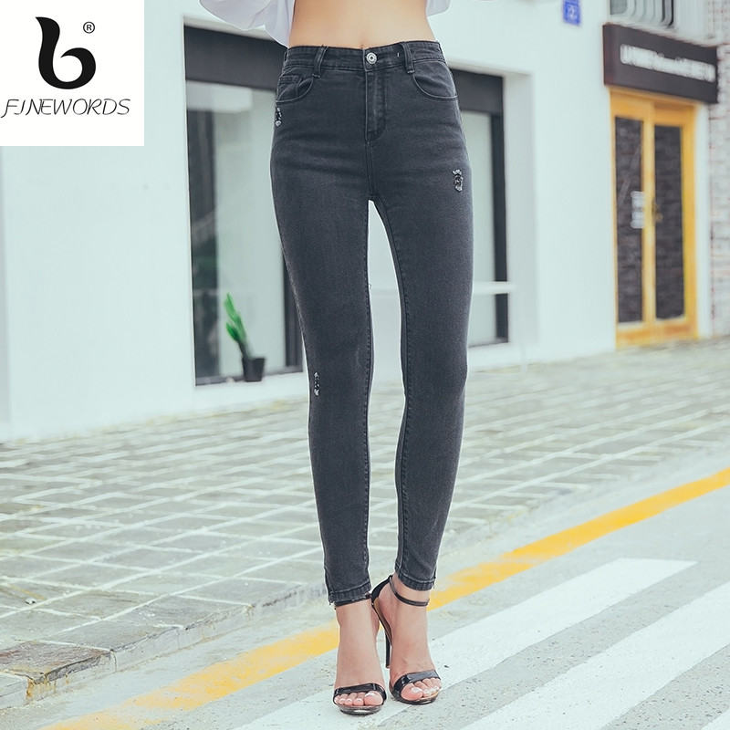 FINEWORDS Design Workout Causal Ripped Elasticity Skinny Jeans Woman Push Up Denim Pant Legging Plus Size