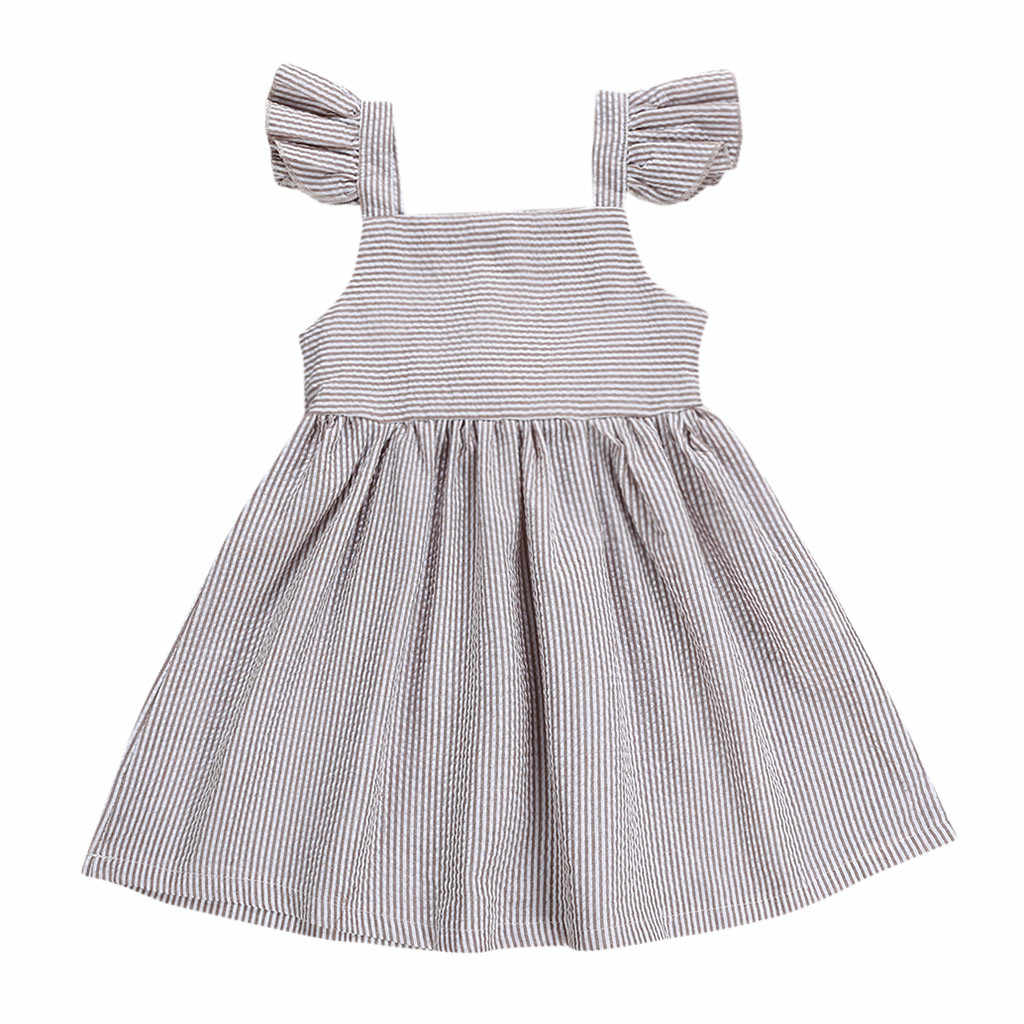 ARLONEET 2019 New summer babys Dress Summer Toddler Kids Baby Girl Striped Ruffled Bow Princess Casual Dress Sundress Z0207