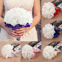 Free Shipping Bridal Colourfast Foam Roses Artificial Flower Wedding Bride Bouquet Party