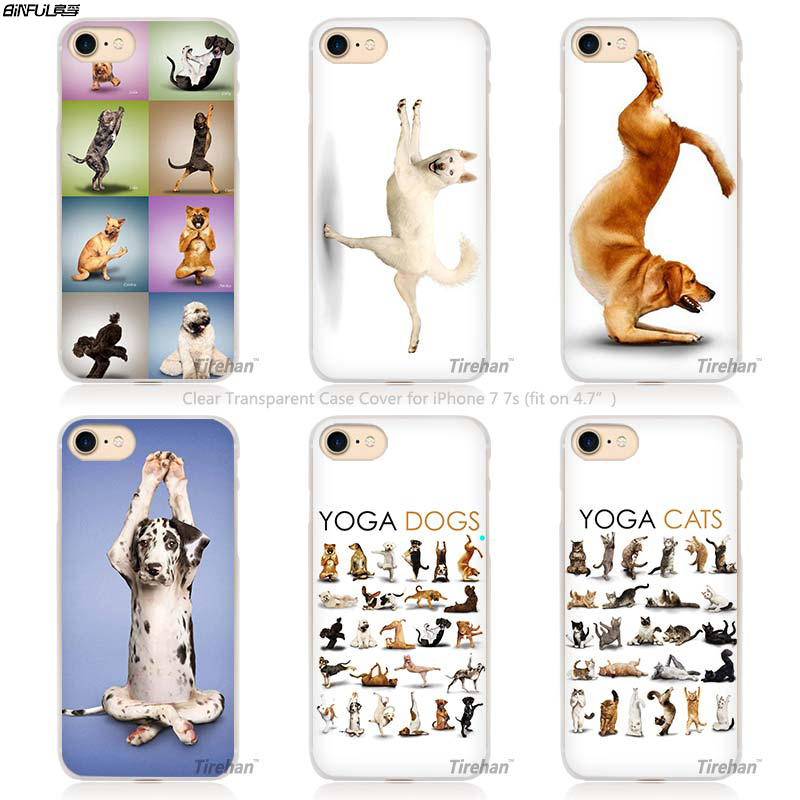 BiNFUL Hot Sale Yoga Cats dogs Hard Transparent Phone Case Cover Coque for Apple iPhone 4 4s 5 5s SE 5C 6 6s 7 Plus