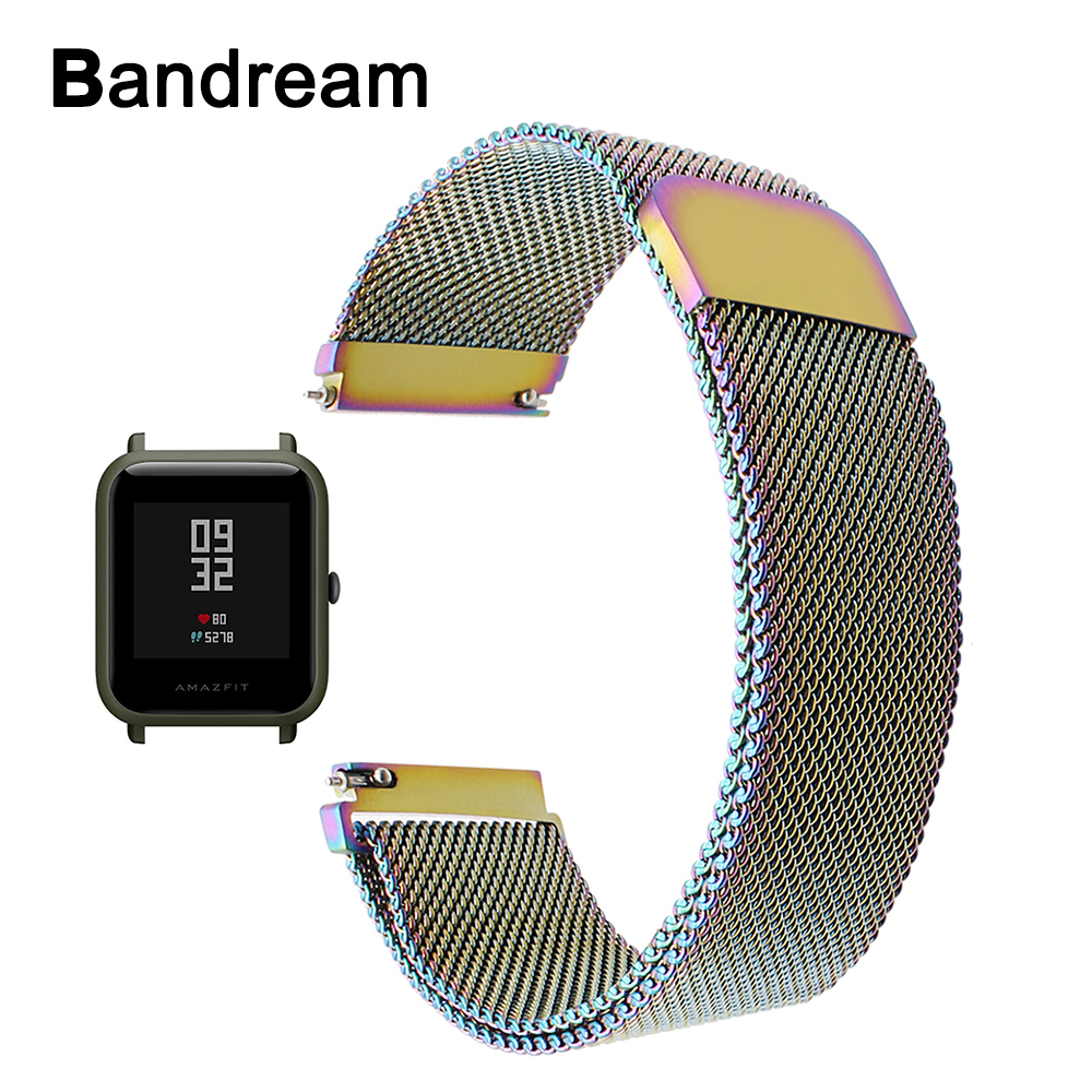20mm Milanese Loop Stainless Steel Watchband for Xiaomi Huami Amazfit Bip BIT PACE Lite Youth Smart Watch Band Wristband Strap