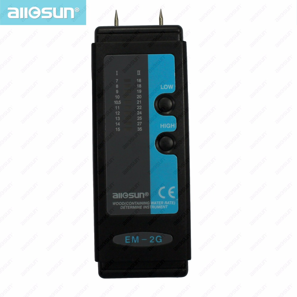 all-sun EM2G Wood Moisture Meter Digital Moisture Meter moisture tester gauge 2 pins LCD Humidity range Low 7-15%High 16-35%