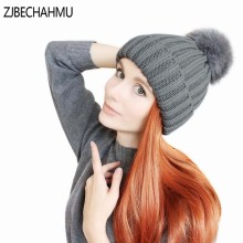 ZJBECHAHMU New mink and fox fur ball cap pom poms winter hat for women girl knitted beanies brand new thick female