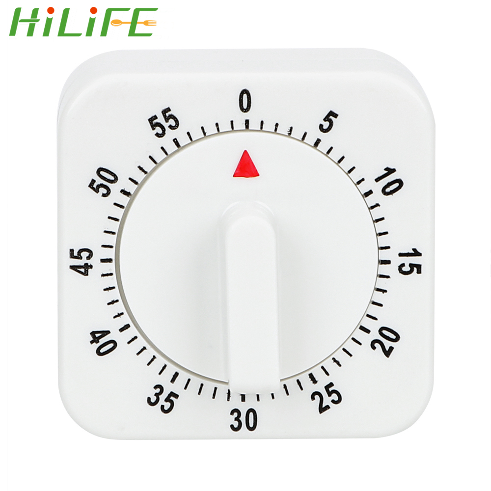 HILIFE White Square Practical  60 Minutes Kitchen Timer Cooking Tools Mechanical Timer Countdown Alarm Reminder
