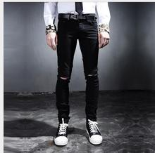 HOT 2017 New fashion casual black knee hole beggar pants plus size jeans Korean version Slim trousers singer nightclub costumes