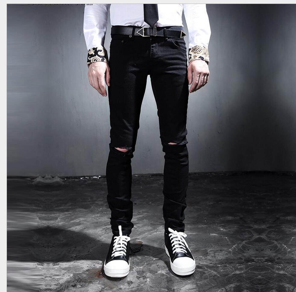 ade9480239f HOT 2019 New fashion casual black knee hole beggar pants plus size jeans  Korean version Slim trousers singer nightclub costumes -in Jeans from Men s  ...