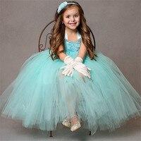 Super pluizige aqua wedding meisje jurken met shabby bloem hoofdband enkellange aqua bruiloft jurk voor meisjes