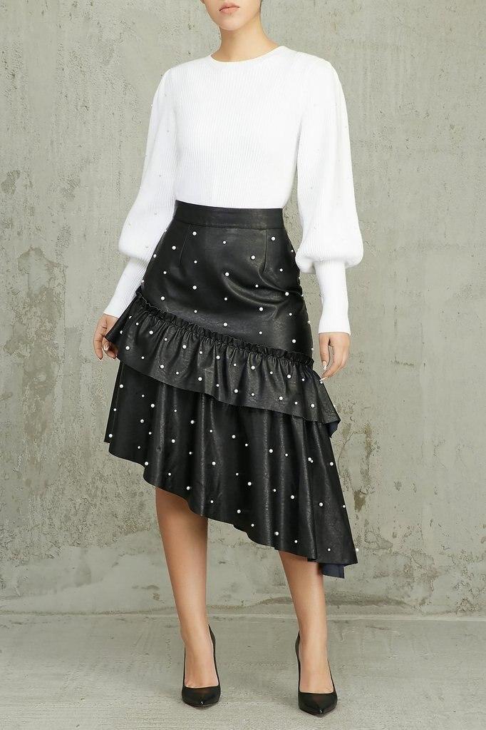 Beading Ruffles Irregular PU Midi Skirt Women Casual Empire Waist Pleat A-Line Long Women Skirts Night Club Party Women's Skirt