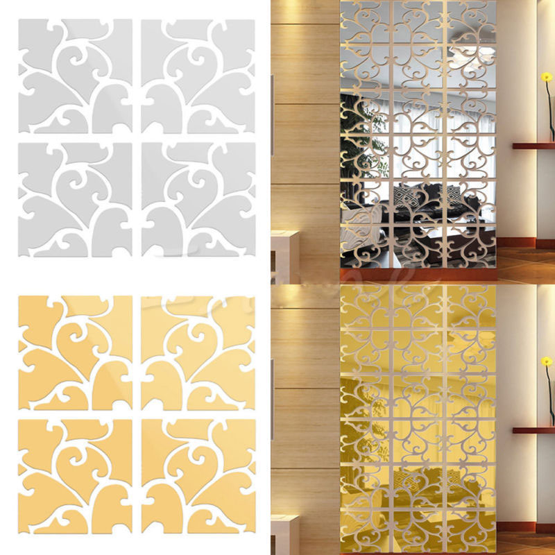 Hot Sale Removable DIY 3D Acrylic Square Gold Silver Mirror Wall ...
