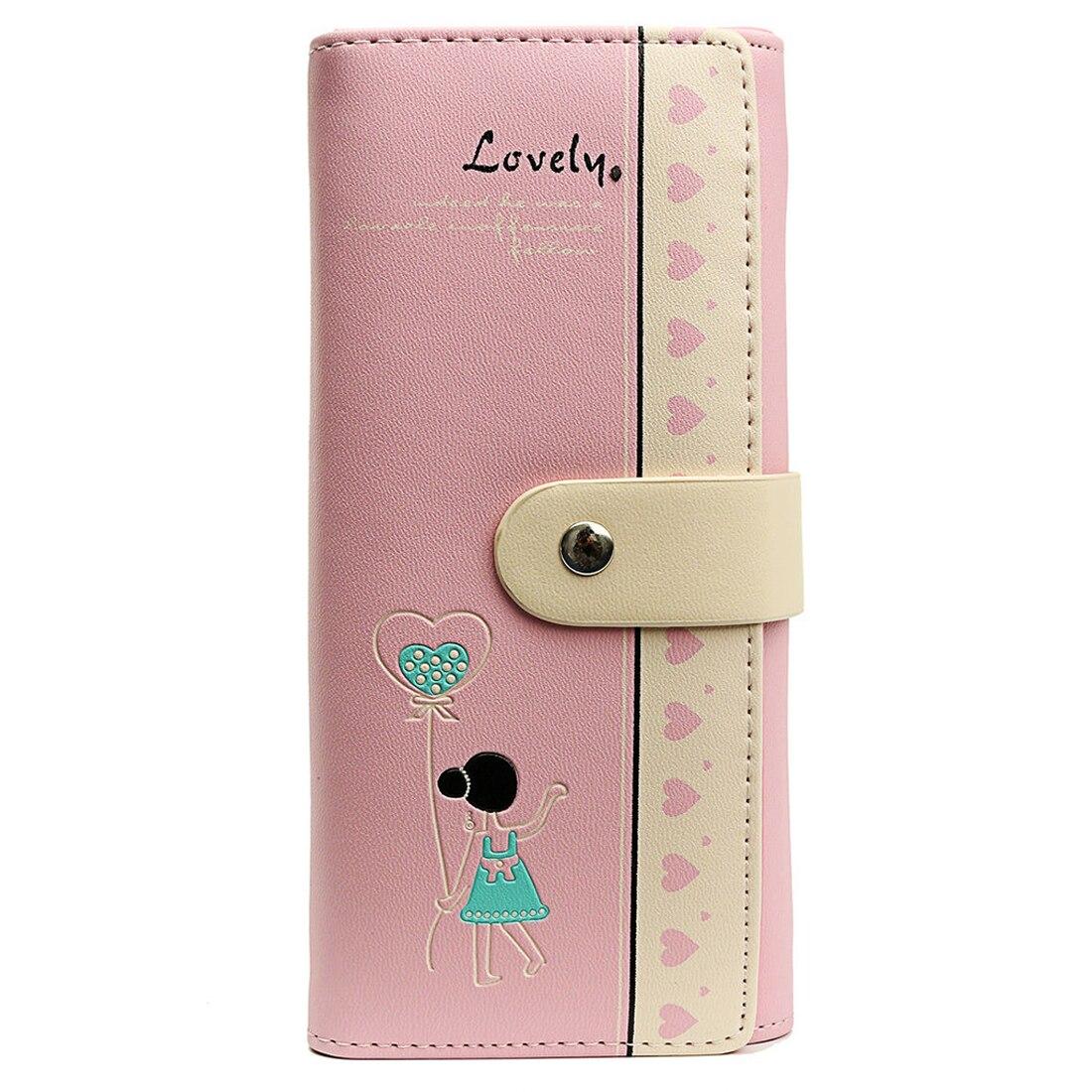 Женские конверт кожаный бумажник кнопка клатч кошелек Длинные Сумочка карта сумка милые девушки, розовый