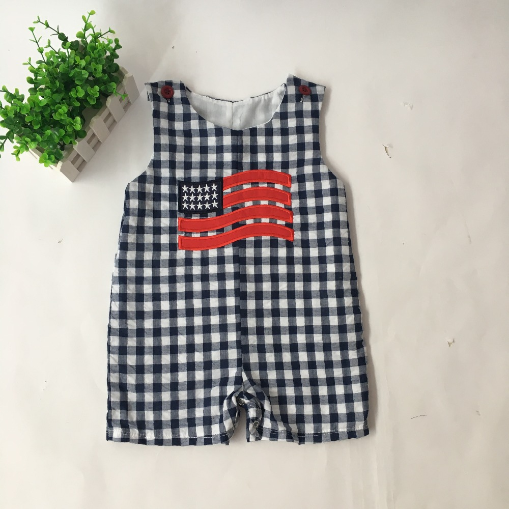 Puresun New Arrival 4th of July Baby Boy   Rompers   Flag Embroidery Seersucker Boutique Clothes Summer Boy Clothes Boy   Rompers