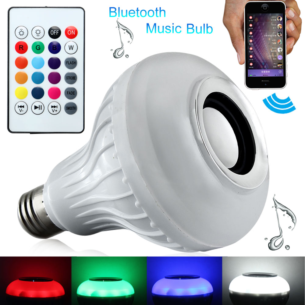 Intelligent Light Wireless Bluetooth 3.0 12W E27 LED Speaker Audio Music Playing Bulb Lamp RGB Change With Remote Controller New 2017 hot bluetooth multi function audio intelligent family host background music system lcd screen touch light dimmer 2 speakers