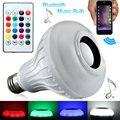 Luz inteligente Sem Fio Bluetooth 3.0 12 W E27 Lâmpada Lâmpada LED Speaker Áudio Música Tocando RGB Mudança Com Controle Remoto nova