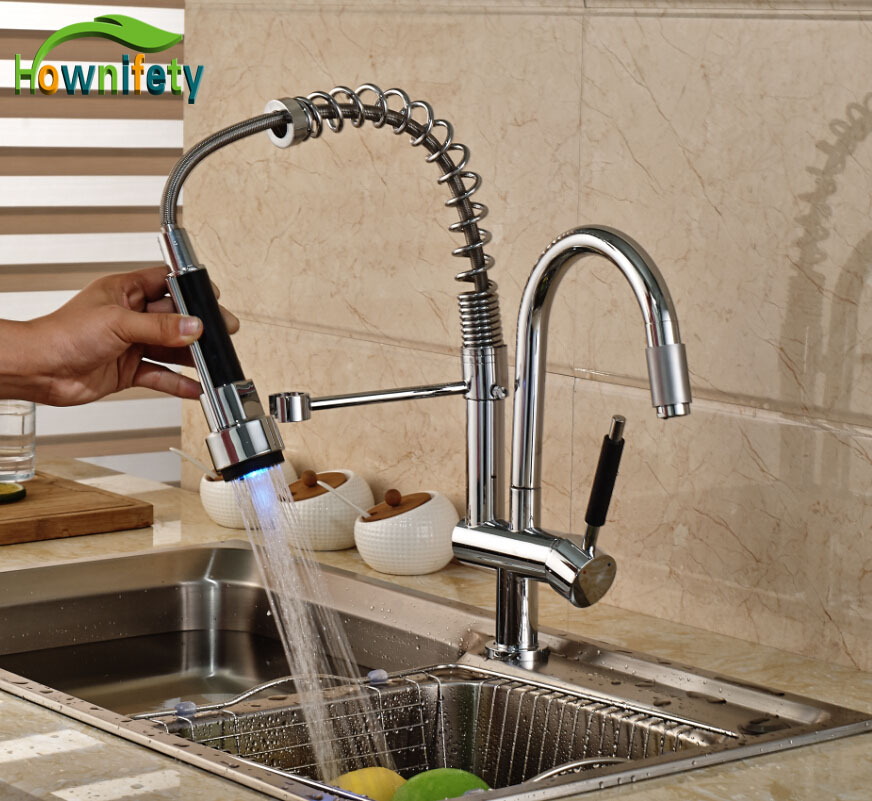 Chrome Single Handle Swivel Kitchen Two Spouts Sink Faucet  Mixer Tap With LED Lights new deck mount pull out kitchen faucet two swivel spouts spring mixer tap chrome finish single handle faucet