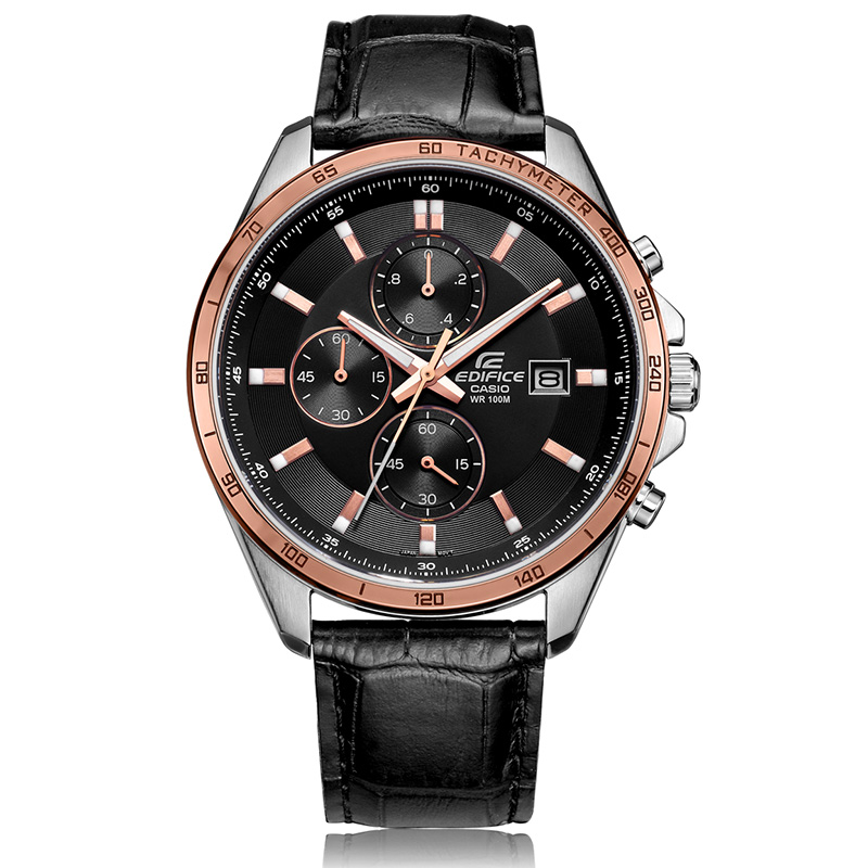 Casio men's watch fashion business 100 meters waterproof quartz men's watch black plate black belt EFR-512L-1A EDIFICE series все цены