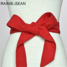RAINIE SEAN Velvet Belts For Women Solid Self Tie Bow Red Black Winter Ladies Waist Belt Strap Female Waistband Coat Accessories