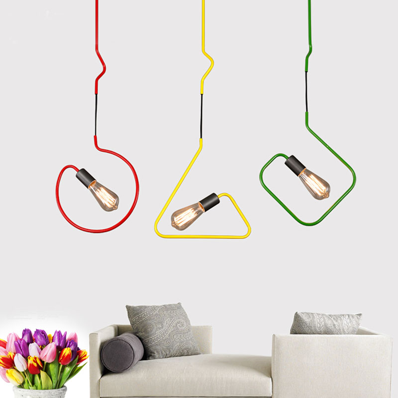 room restaurant dining cafe store bar red/green/yellow lamps Creative iron Triangular rectangle 1 head pendant lights ZA FG891 american iron pendant light single head bar restaurant dinner room retro fashion industrial lamps iron dining room lamps za