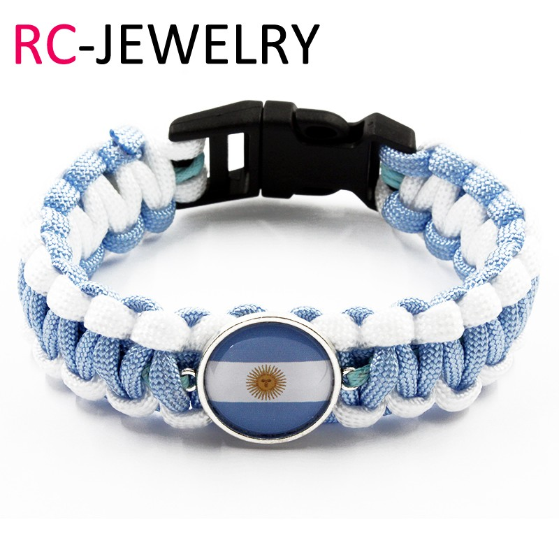 52# European and American style fashion Survival Paracord braided bracelet Argentina flag bracelet a set from the set