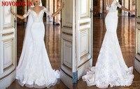2019 Plus Size Berta Mermaid Wedding Dresses Bridal Gowns Cape Plunging Neck Lace With Detachable Applique vestidos de noiva