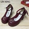 LIN KING Fashion Style PU Angle Wings Lolita Shoes Women Platform Spring Single Shoes T-straps Buckle Cross Single Shoes