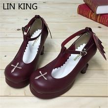LIN REY Estilo Alas del Ángulo de LA PU Lolita Zapatos de Plataforma de Las Mujeres de Moda Primavera Solos Zapatos t-correas Hebilla Cruz Sola zapatos