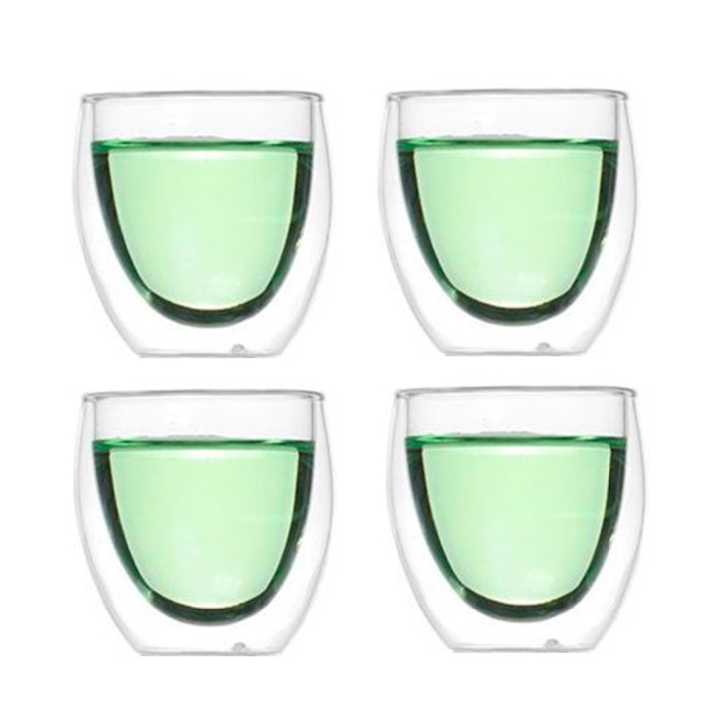 Wholesale price 2 4 pcs double wall glass cup teacups heat for Glass 2 glass