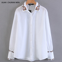 XUANCHURANWEN Ladies White Cotton Blouse Long Sleeve Embroidery Floral Shirt Casual Slim Plus Size Autumn Tops