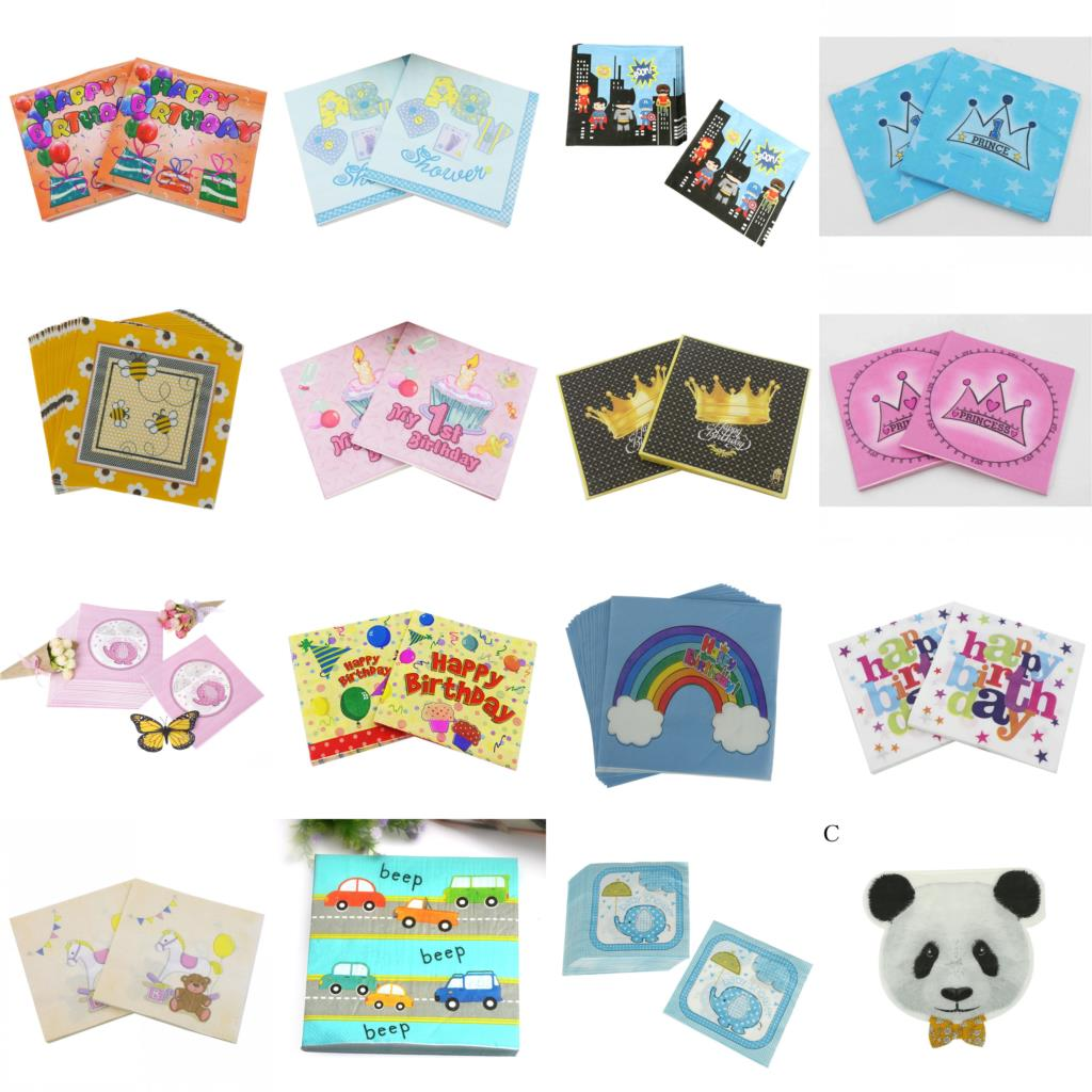 Baby Shower Party NapkinsGirl Pink Hearts 33cm Paper Serviettes Celebration