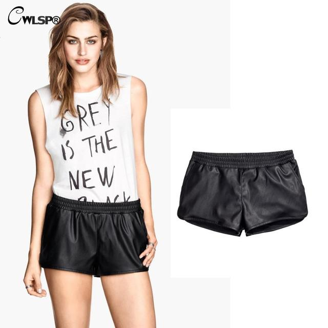 Top Fashion 2016 New Autumn Winter Womens Elastics Waist PU Leather Shorts Cool Punk Black Leather Shorts pantalon femme H033