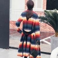 Uniquewho Для женщин Разноцветными полосками Радуга свитер Пальто для будущих мам Кардиганы для женщин уличная на весну и зиму модные теплые мя