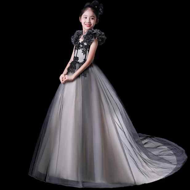 Продольный Черное платье принцессы для девочек Роскошные Новый дизайн Аппликации бальное платье длинные Платье в цветочек для девочек Платье для первого причастия DF50