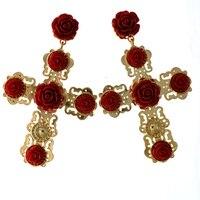 עגילי צלב זהב אופנה הגעה חדשה עם פרח אדום אביזרי תכשיטי עגילי זהב הבארוק צלב גדול תליון עגילים