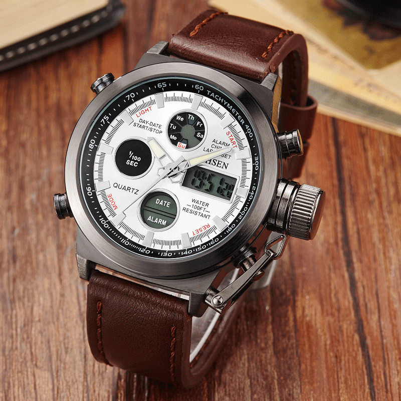 Fashion Vogue Men's Swimming Digital LCD Quartz Watches Brown Leather Band Dual Time Outdoor Sport Army Watch Relogio feminino splendid brand new boys girls students time clock electronic digital lcd wrist sport watch