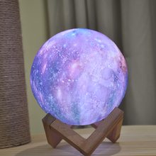 2019 Dropship New Arrival 3D Print Galaxy Moon Lamp Colorful Change Touch Led Night Light  Home Decor Creative Gift Usb