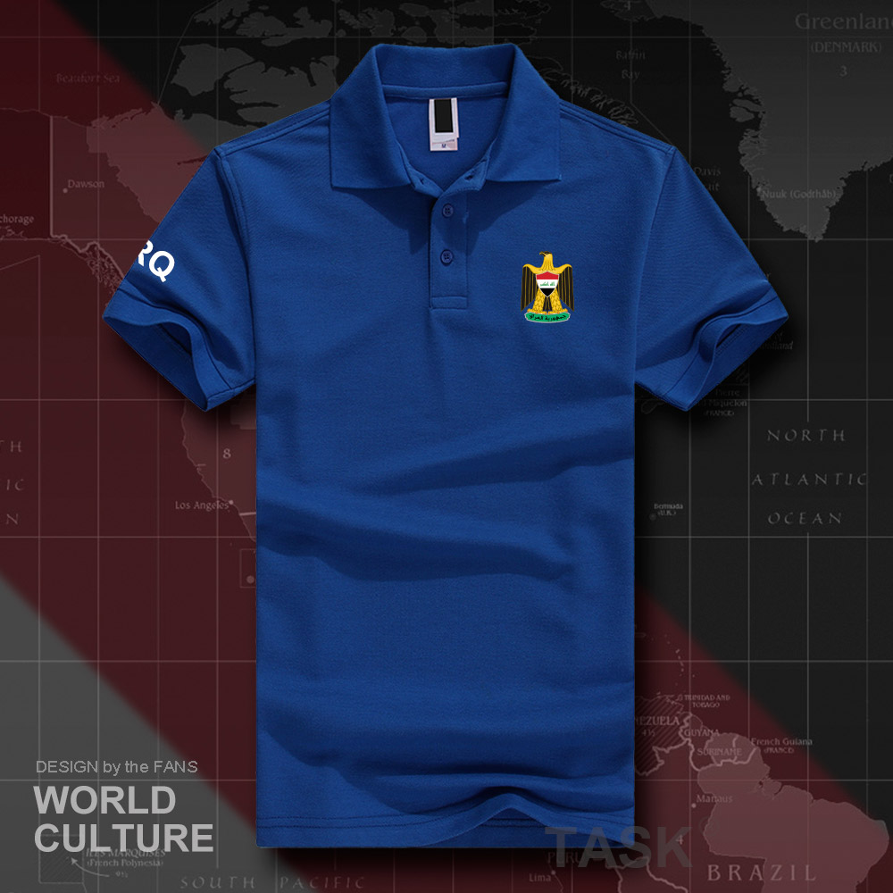 Republic of Iraq IRQ   polo   shirts men short sleeve white brands printed for country 2018 cotton nation emblem new fashion