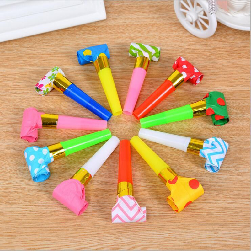 10 pcs Colorful Funny Whistles Kids Childrens Birthday Party Dots Blowing Dragon Blowout Baby Toys Gift Accessory Supplies